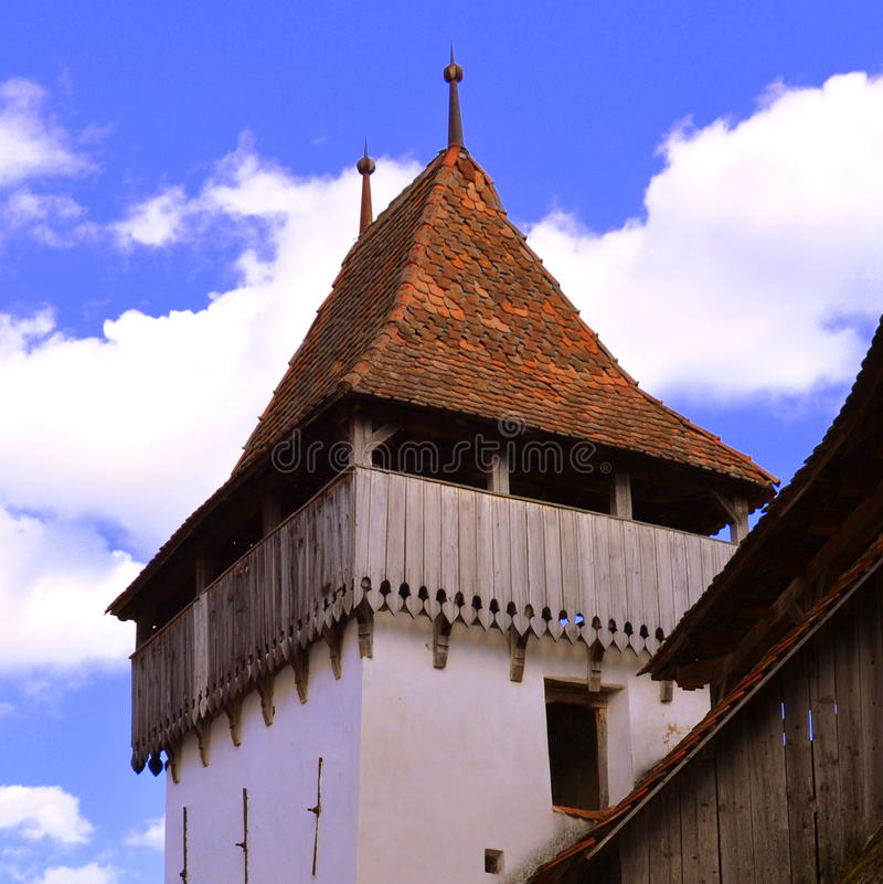 Tower of the fortified medieval church Viscri, Transylvania. Viscri is known for his fortified church. The fortified church in this village was built around royalty free stock photo
