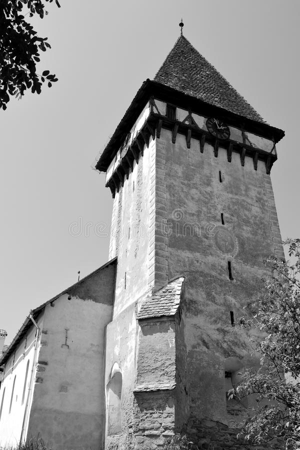 Tower of the fortified medieval saxon church in Veseud, Zied, is a village in the commune Chirpăr from Sibiu County. Veseud, Zied, a village in the commune stock image
