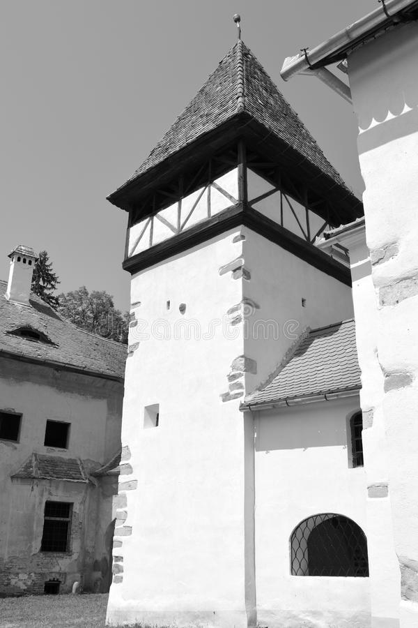 Tower of the fortified medieval saxon church in Veseud, Zied, is a village in the commune Chirpăr from Sibiu County. Veseud, Zied, a village in the commune royalty free stock images