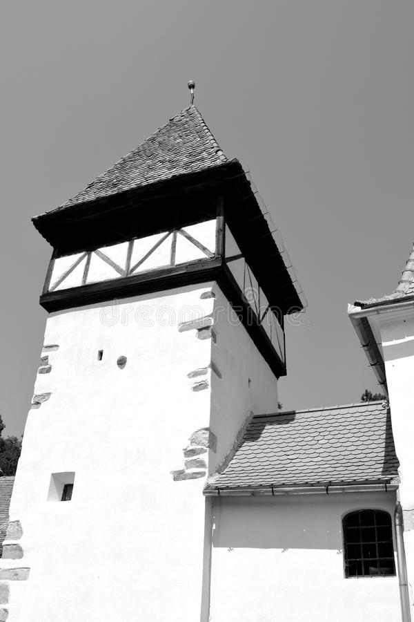 Tower of the fortified medieval saxon church in Veseud, Zied, is a village in the commune Chirpăr from Sibiu County. Veseud, Zied, a village in the commune stock images