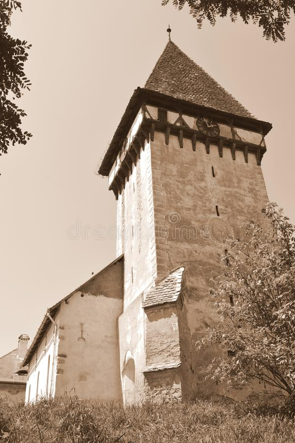 Tower of the fortified medieval saxon evangelic church in Veseud, Zied, is a village in the commune Chirpăr from Sibiu County. Veseud, Zied, a village in the stock photo