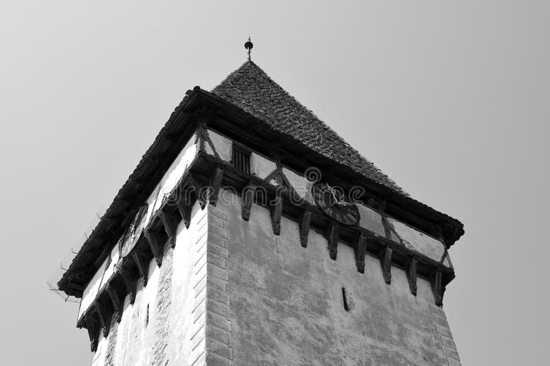Tower of the fortified medieval saxon evangelic church in Veseud, Zied, is a village in the commune Chirpăr from Sibiu County. Veseud, Zied, a village in the stock photography