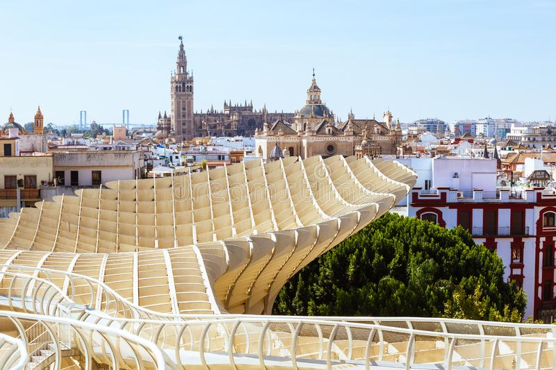 Tower Giralda, Cathedral Seville and Saint Mary of the See, Metropol Parasol stock photos