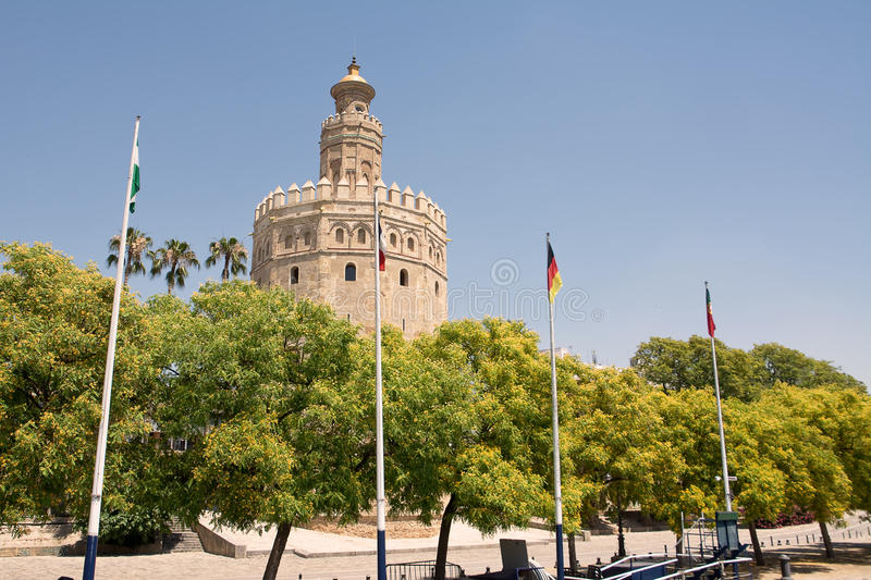 Tower of gold in Sevilla. Tower of the gold on the shore of the guadalquivir to siviglia stock photo