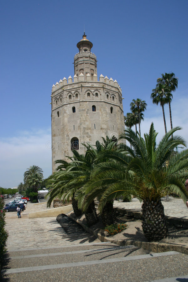 Tower of Gold, Sevilla, Spain. The Torre del Oro was built by the Moors in 1220 as part of Seville`s defences. By attaching a chain from the tower to another royalty free stock photography