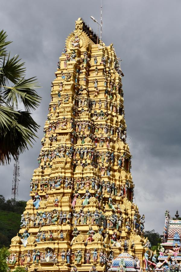 Tower of golden Hindu temple in Sri Lanka royalty free stock photos