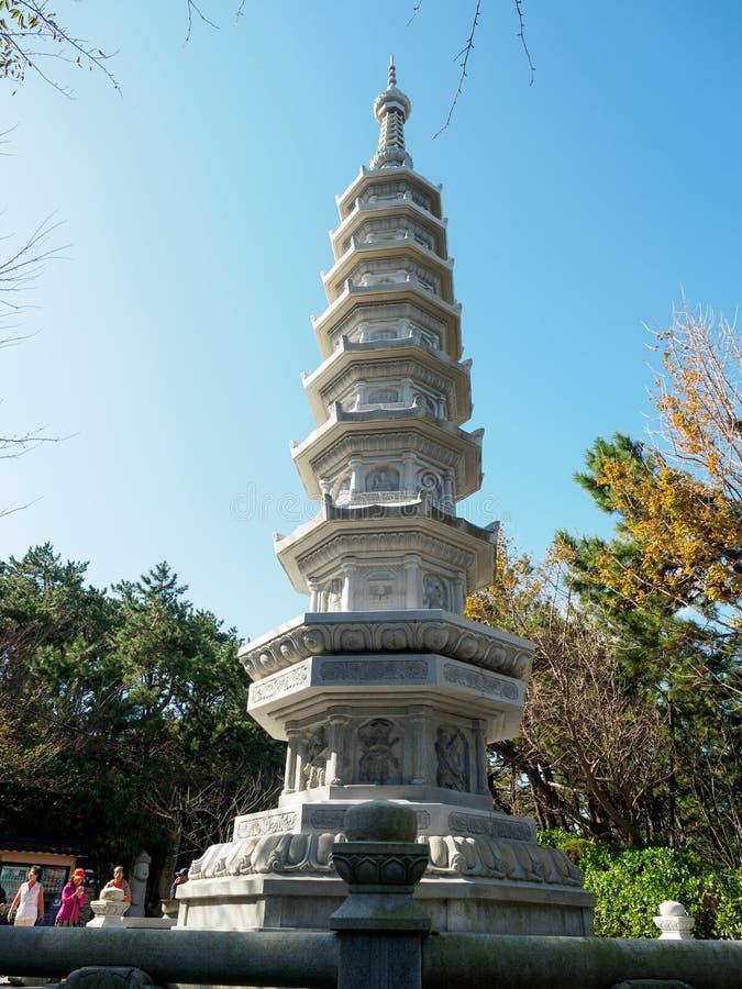 Tower at Haedong Yonggungsa Temple stock photos