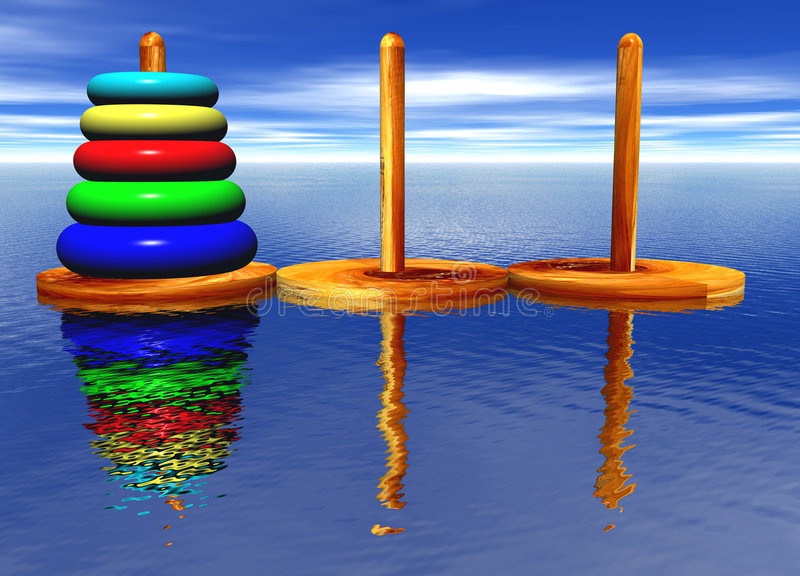 Tower of Hanoi Toy Puzzle. Old Chinese Game royalty free illustration