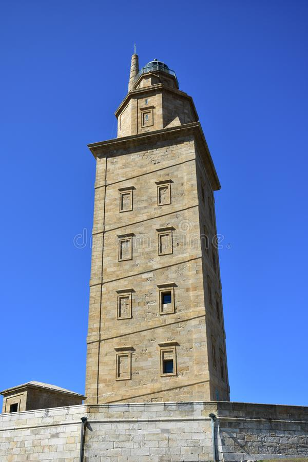 Tower of Hercules. Roman lighthouse in use. La Coruna, Spain. Tower of Hercules. Roman beacon still in use. Sunny day. La coruna, Spain royalty free stock photography