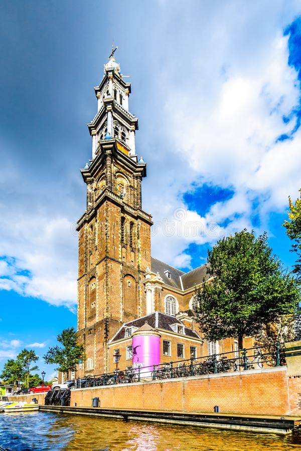 Tower of the Historic Westerkerk in Amsterdam near the Anne Frank House at the Prinsengracht in Amsterdam. Amsterdam, the Netherlands - Sept 28, 2018: Tower of stock photo
