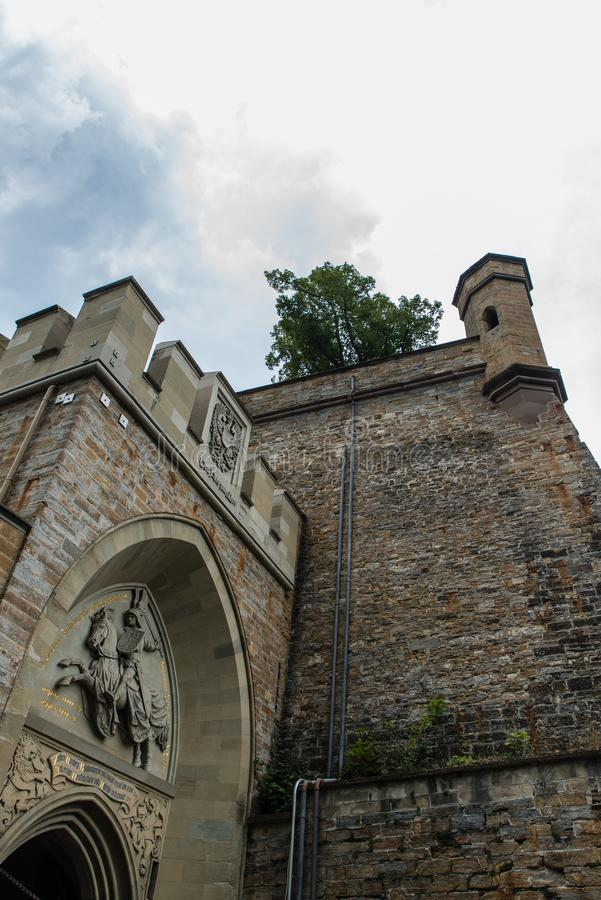 Tower of the Hohenzollern Castle in Germany.  royalty free stock photo