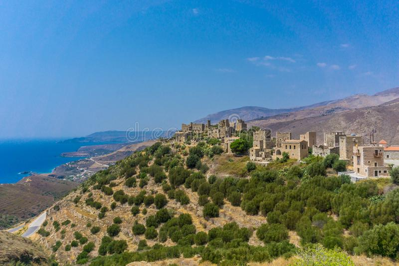 Panoramic view of tower houses at Vathia (Vatheia) village in Mani Greece. Tower houses in Mani Greece stock photos