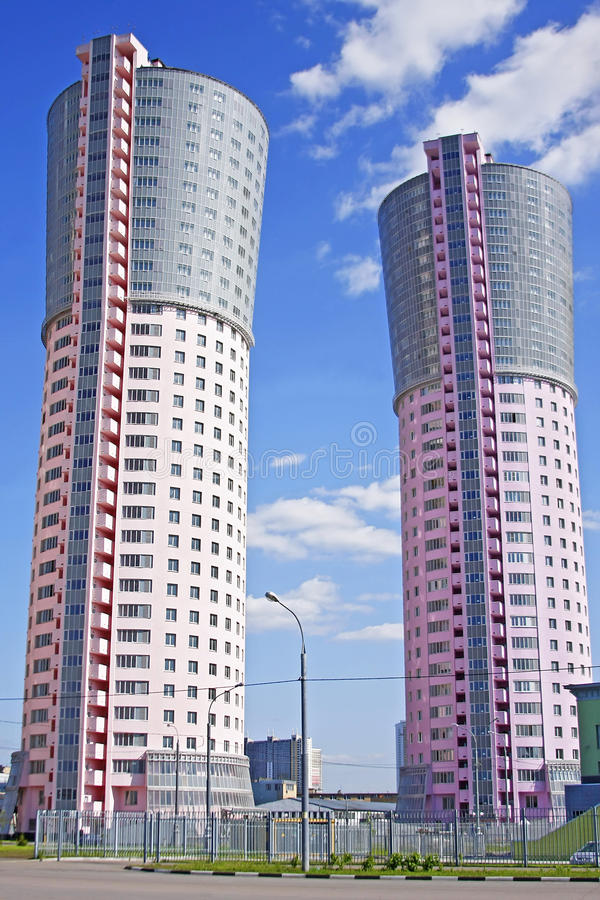 Tower-houses, similar to the large smokestacks stock images