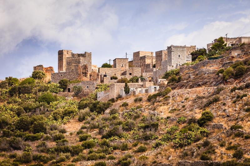 Tower houses in Vathia Greece Mani Peninsula. Greece Vatheia village. Old abandoned tower houses in Vathia Mani Peninsula, Laconia Peloponnese Europe royalty free stock image