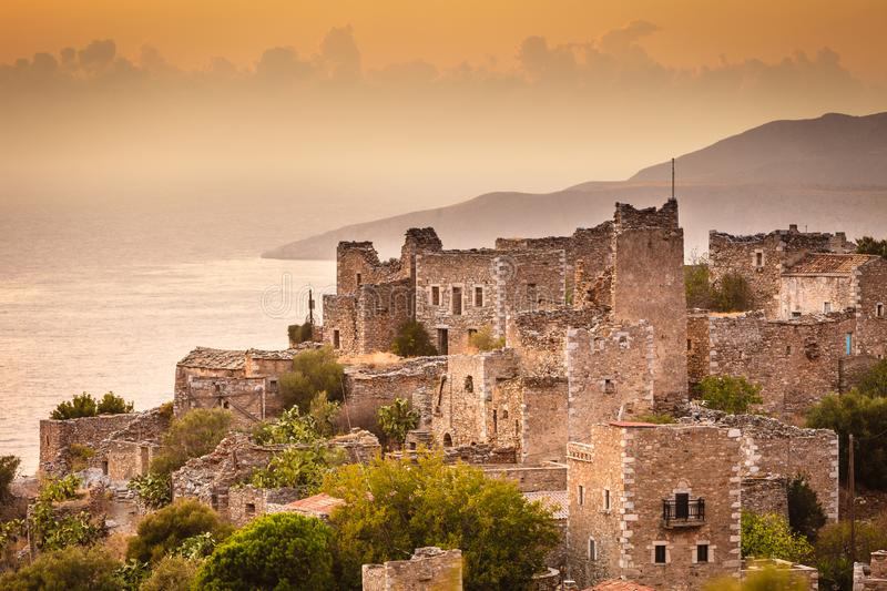 Tower houses in Vathia Greece Mani Peninsula. Greece Vatheia village. Old abandoned tower houses in Vathia Mani Peninsula, Laconia Peloponnese Europe royalty free stock photo