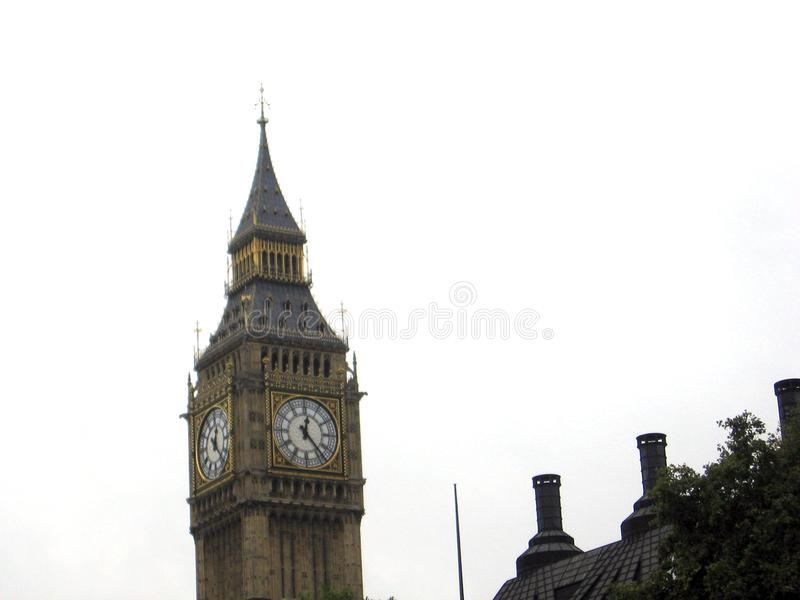 Tower of the imposing Big Ben tower clock on a cloudy day London United Kingdom Europe stock photo