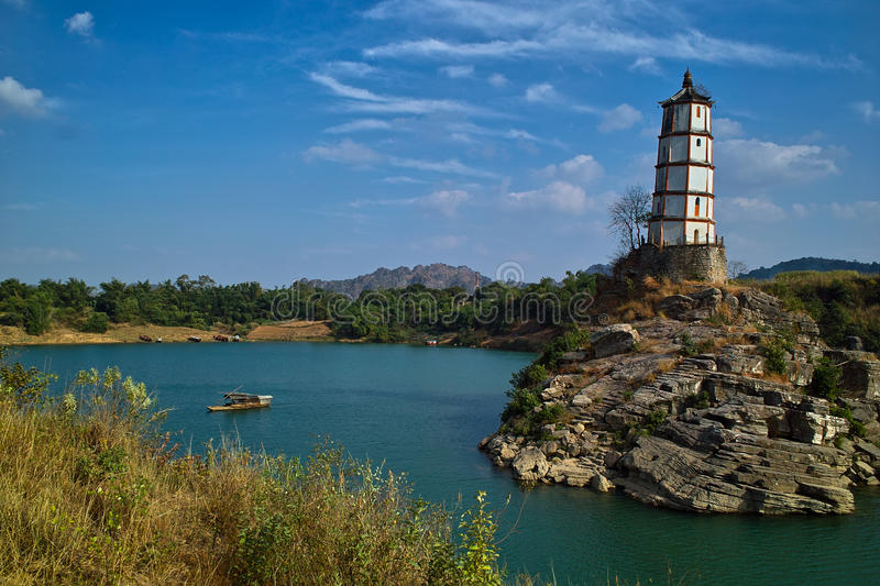 Download Tower On Island In Ocean Royalty Free Stock Photography - Image: 12582227