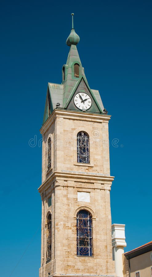 Tower in Jaffa. The tower clock in Jaffa, the ancient part of Tel Aviv stock photo