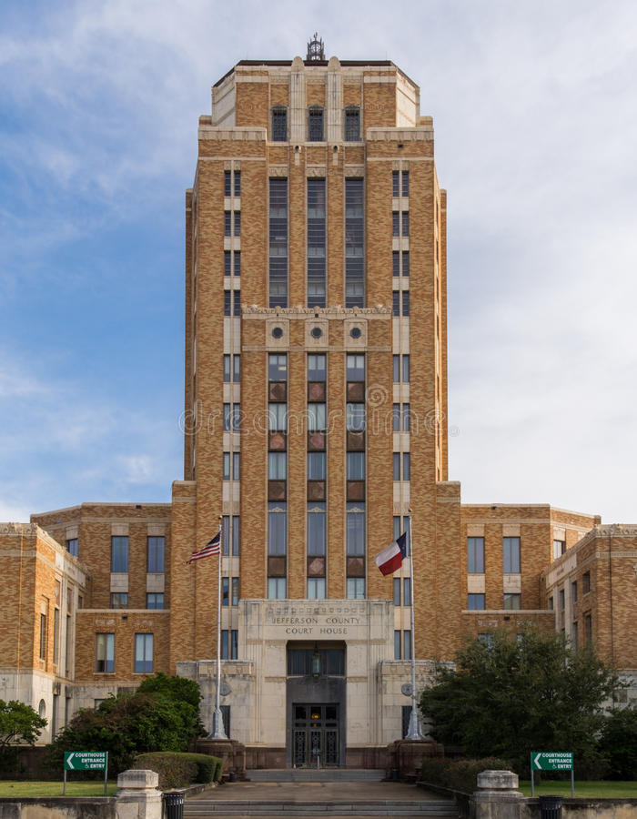 Tower at Jefferson County Courthouse in Beaumont Texas stock photo