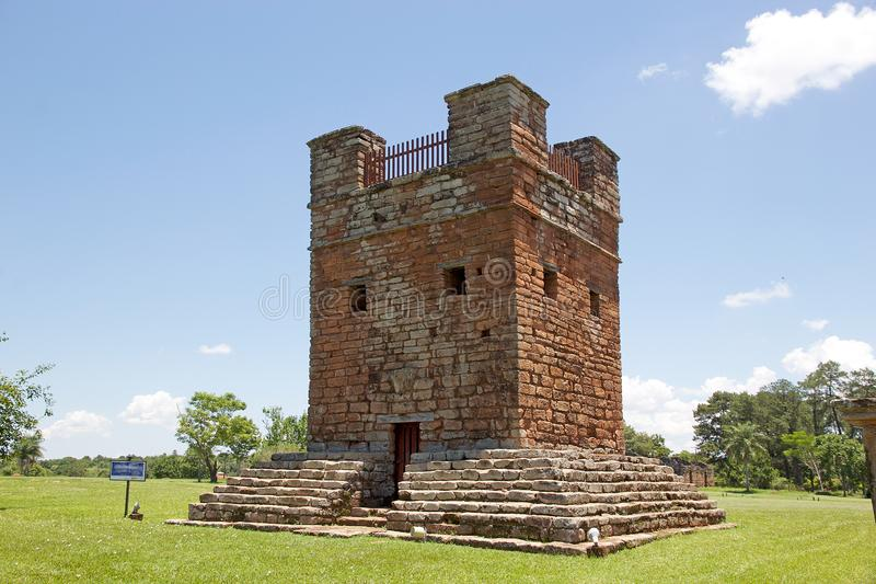 Jesuit Missions of La Santisima Trinidad de Paranà,Paraguay. Tower at the Jesuit Missions of La Santisima Trinidad de Paranà is located in the Itapua stock photography