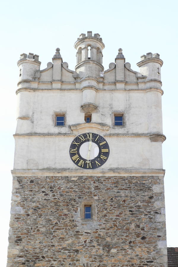 Tower In Jihlava. Stone gothic tower with clocks in city Jihlava Czech Republic stock images