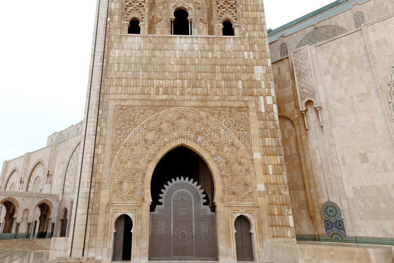 Tower King Hassan II Mosque, Casablanca royalty free stock photos