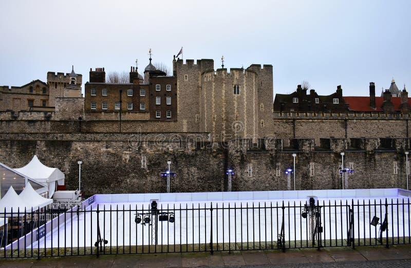 Tower of London Christmas Ice Rink. London, United Kingdom. stock photo