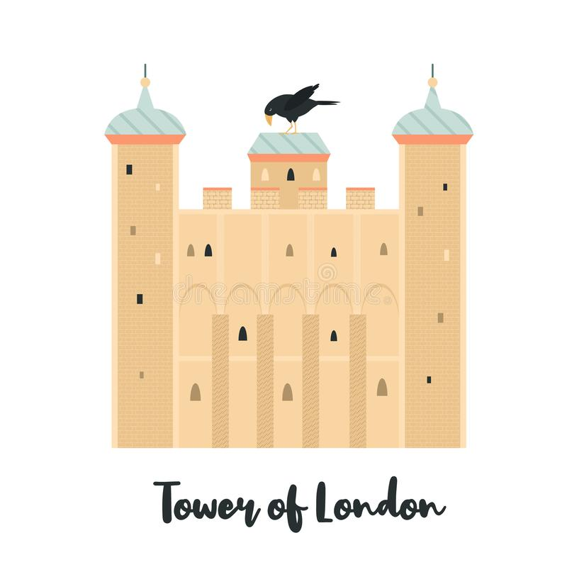Tower of London famous fortress landmark. Tower of London famous fortress, landmark isolated on white background. Vector illustration stock illustration