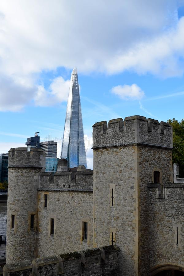 Tower of London and The Shard royalty free stock photography