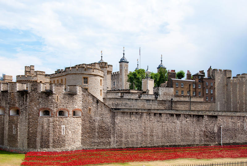 Tower of London with red flowerbed royalty free stock photos