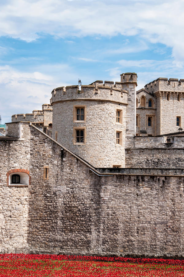 Tower of London with red flowerbed royalty free stock image