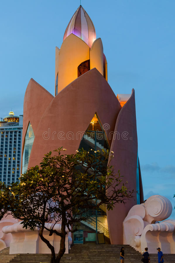 Tower Lotus. Twilight in Nha Trang. Evening view after sunset stock image