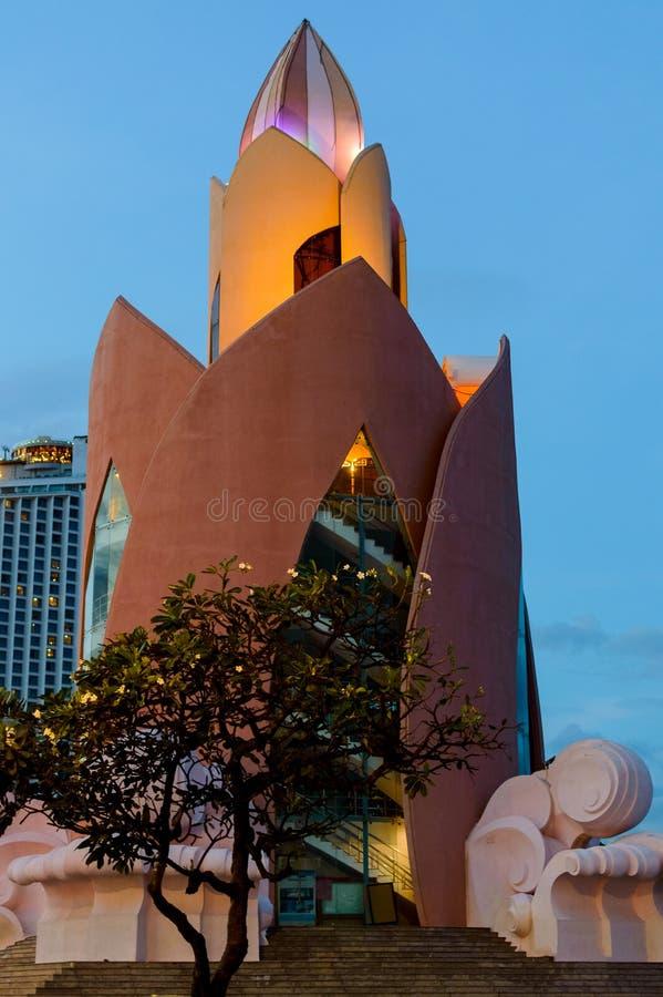 Tower Lotus. Twilight in Nha Trang. Evening view after sunset stock photos
