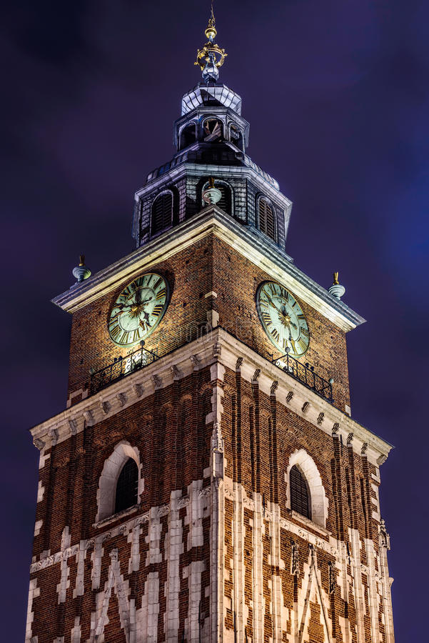 Tower in main square of Krakow at night stock photos