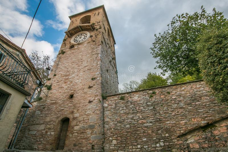 Tower in the medieval village of Fossato di Vico in Umbria royalty free stock photo