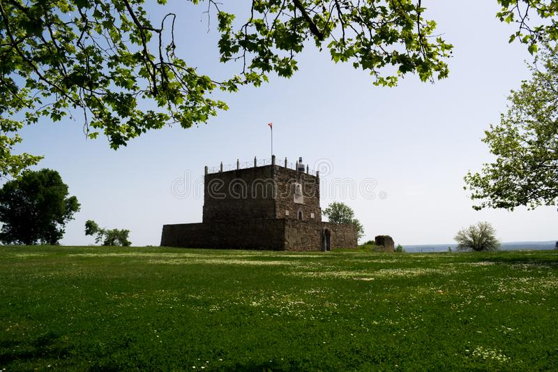 Perspective of the Tower of Managem of the Castle of Abrantes, Portugal. Tower of Menagem of the Castle of Abrantes, in the region of Middle Tejo, Ribatejo in a stock images