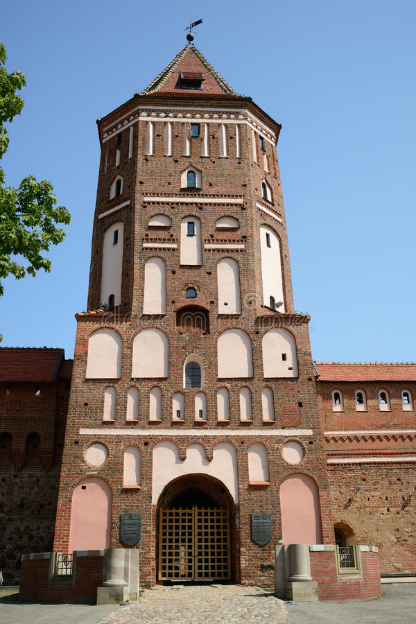The tower of Mir castle, Belarus royalty free stock photography