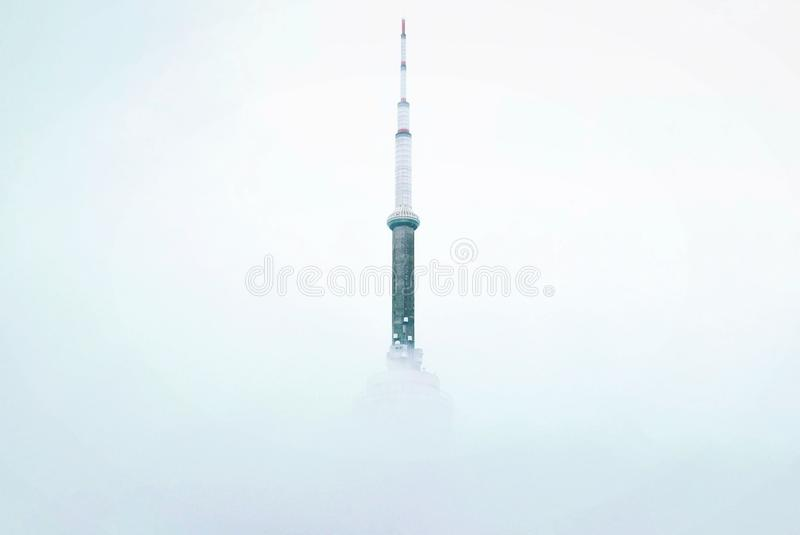 Tower in mist stock photo