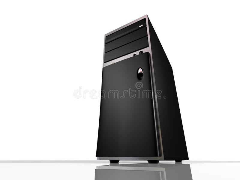 Tower model Computer or Server. 3d render of tower model computer. Fictional design, rendered from interesting angle with simulated wide angle lens to make the stock illustration