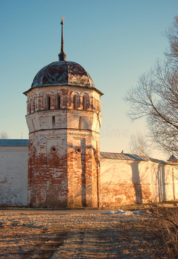 The tower of the monastery stock images
