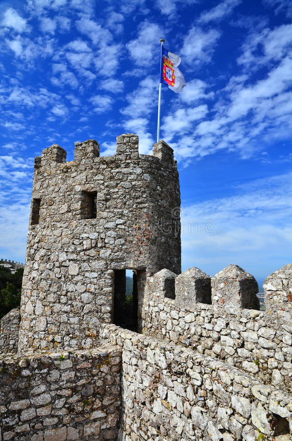 Tower of Moors Castle, Sintra Portugal stock photo