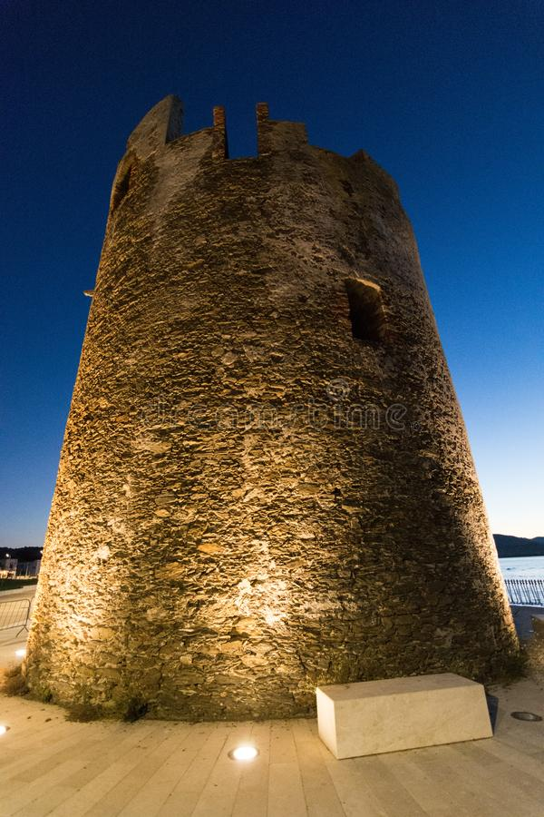 Night life. Tower in the night life royalty free stock photo
