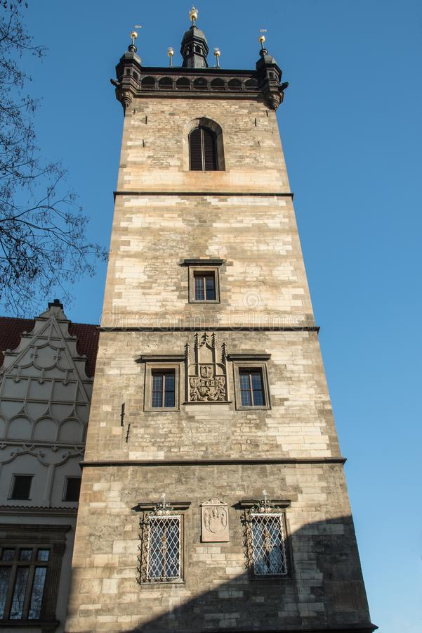 Tower of Novomestska radnice town hall in Praha city in Czech republic. With clear sky above stock images