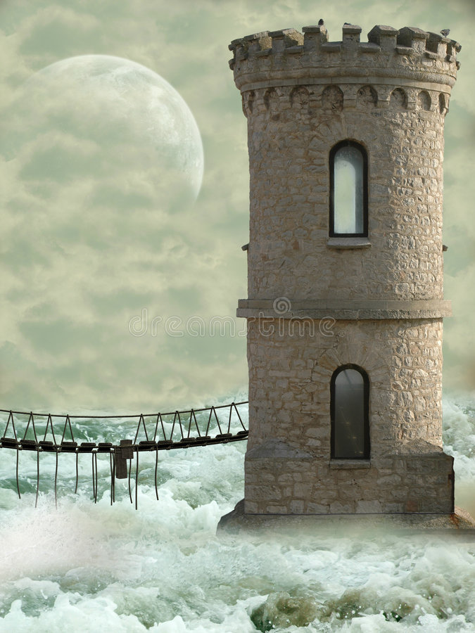 Download Tower in the ocean stock photo. Image of fairy, angels - 7104308