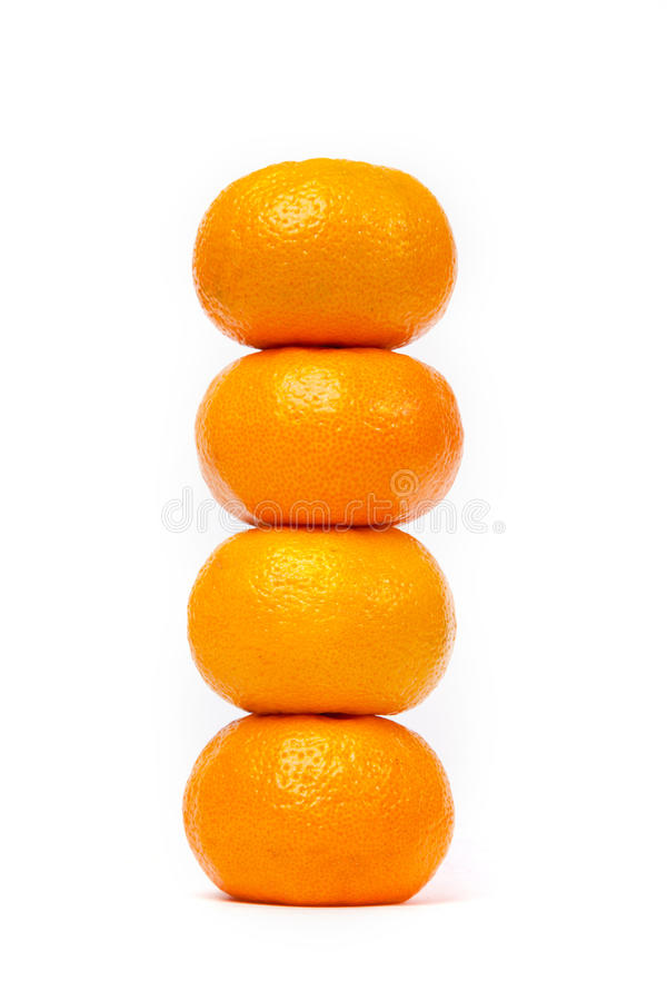 Free Tower Of Four Tangerine Isolated On White Royalty Free Stock Image - 17168336