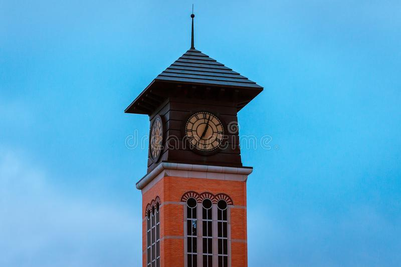 Tower off of an academic building on Grand Valley State University campus in Grand Rapids Michigan stock photos
