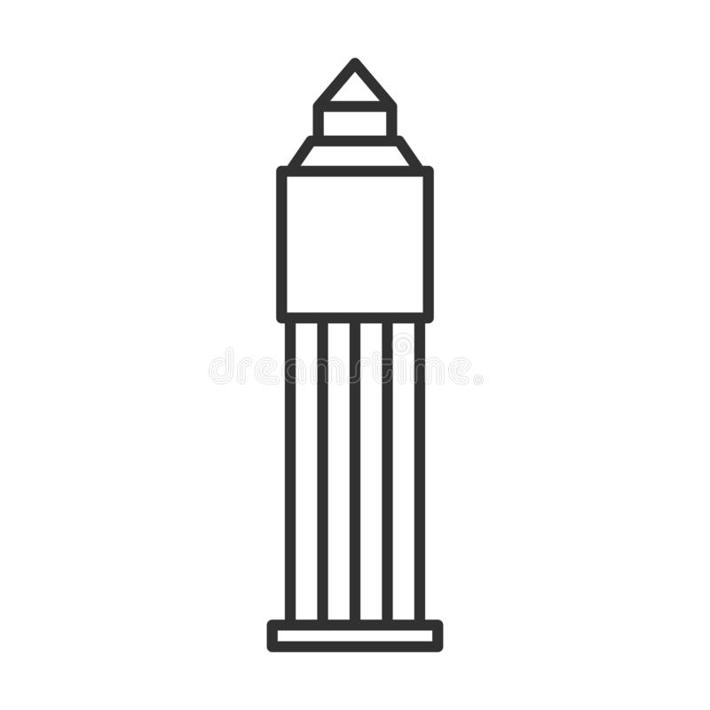 Tower Office building line icon, outline vector sign, linear style pictogram isolated on white. Business center tower symbol, logo. Illustration vector illustration