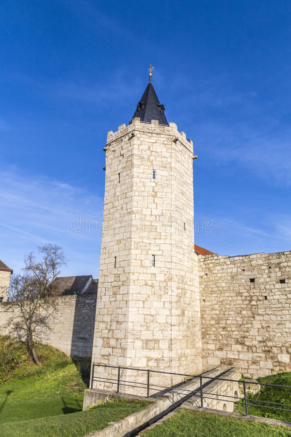 Tower of old city wall in Muehlheim. Under blue sky stock photo