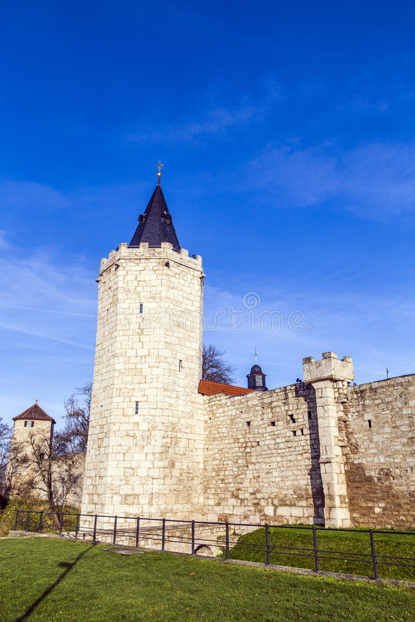 Tower of old city wall in Muehlheim. Under blue sky royalty free stock image