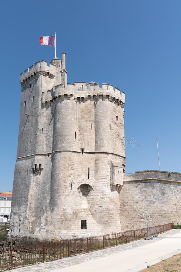 Tower of old port in La Rochelle in France. A tower of old port in La Rochelle in France royalty free stock photos